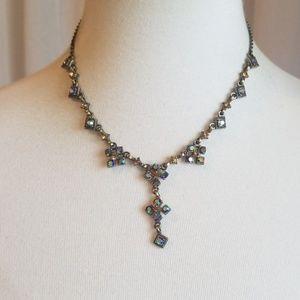 Cookie Lee Antique Gold Necklace w Iridescent Gems